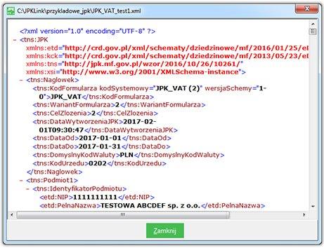 Zobacz jak wygląda jpk vat scalony z różnych źródeł, przy użyciu programu JPK Link - przykładowy plik xml z danymi